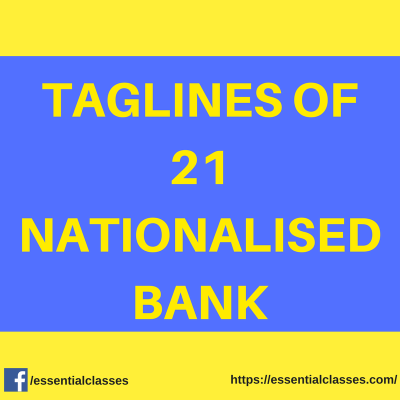 Taglines of 21 Nationalised Banks